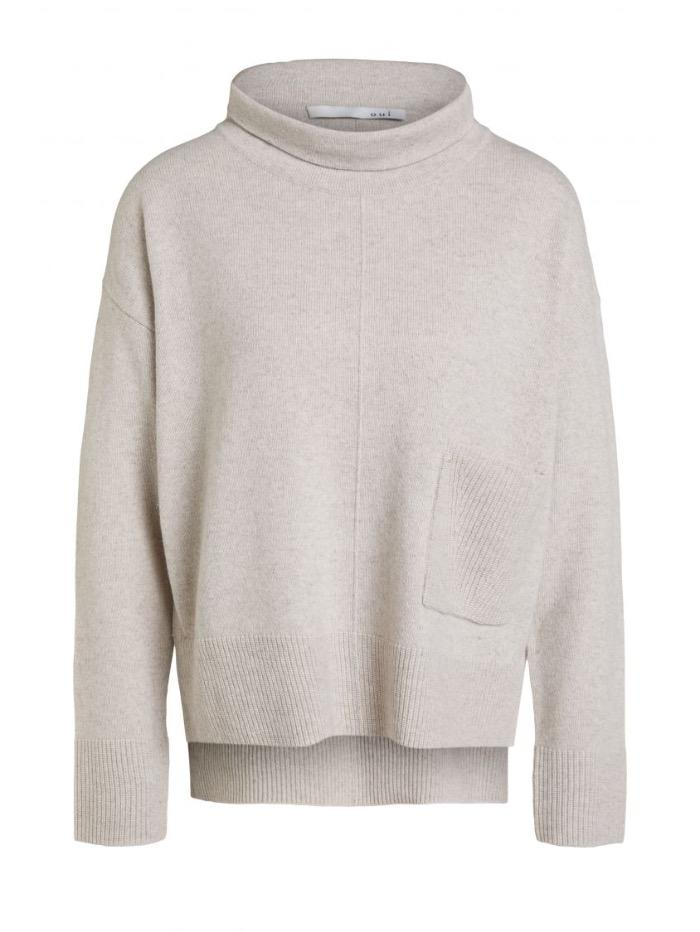 Oui Jumper Oui Stone Roll Necked Sweater 70641 7004 izzi-of-baslow