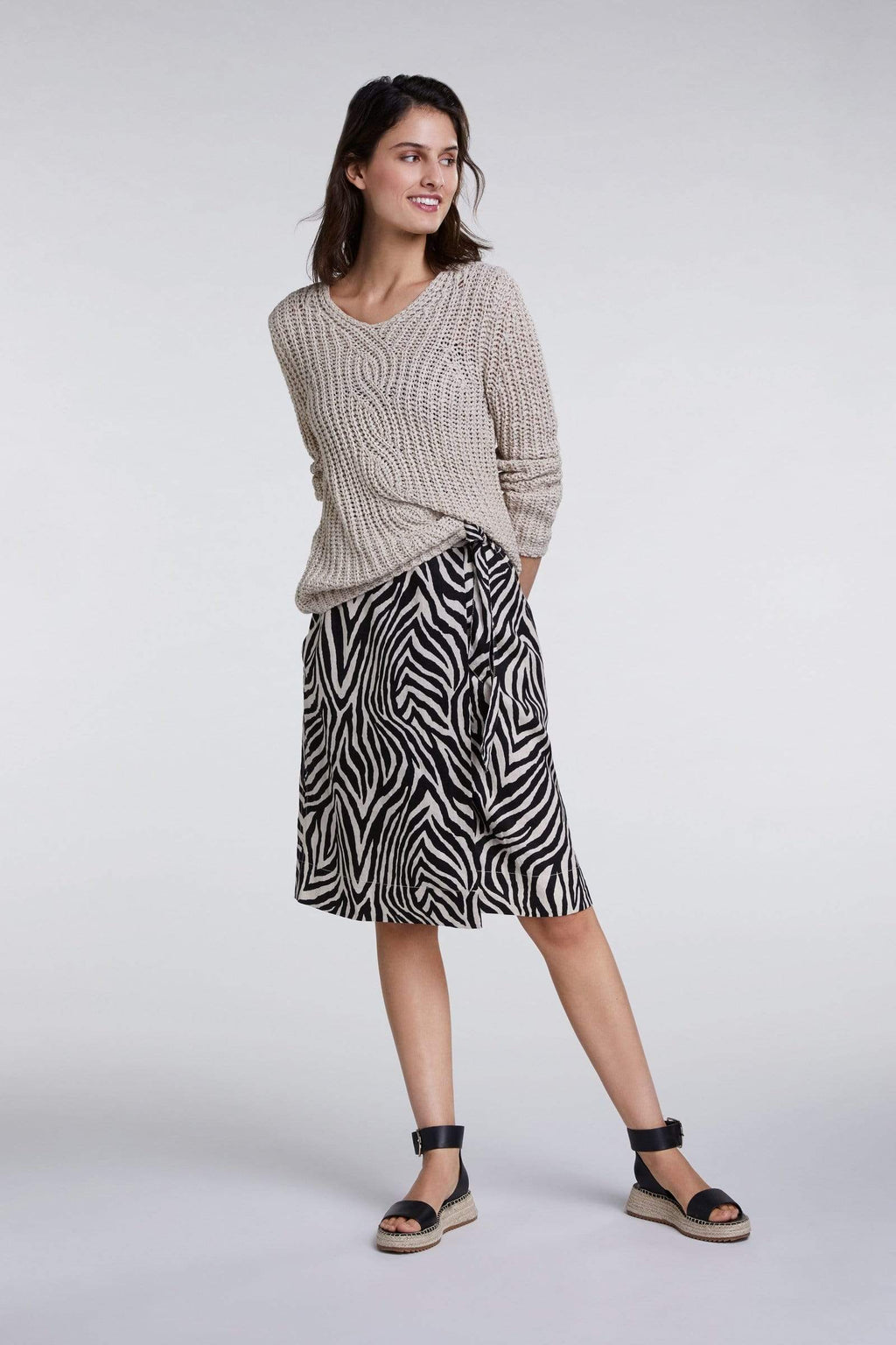 Oui Skirts Oui Black and Beige Linen Skirt 0068932 izzi-of-baslow