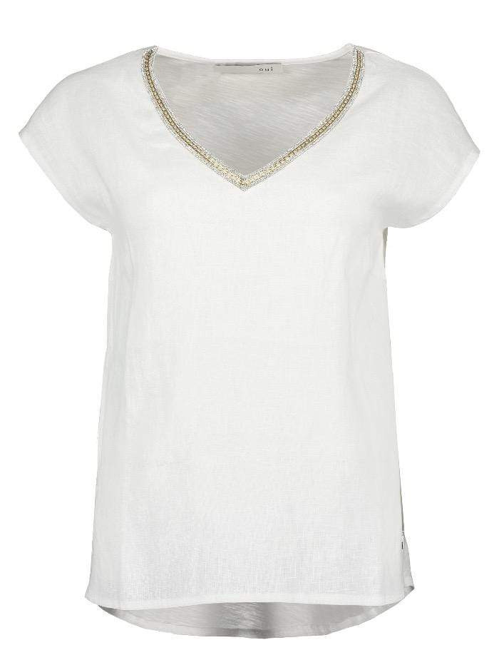 Oui Tops Oui Linen Top in Off White 69113 2092699 1006 izzi-of-baslow