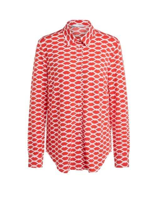 Oui Tops Oui Lip Print Blouse Red 68181 izzi-of-baslow