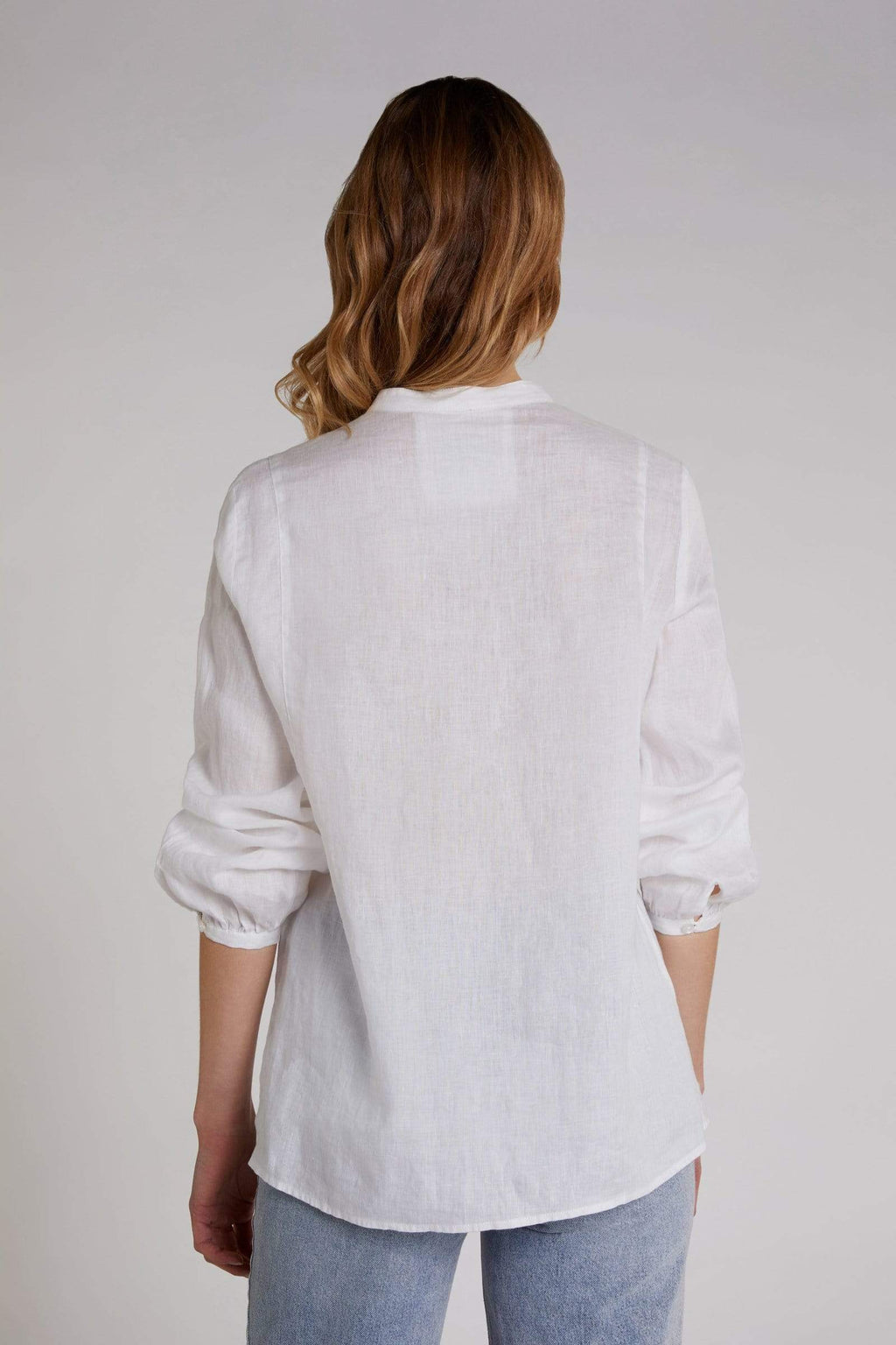 Oui Tops Oui Off White Linen Blouse 0068651 izzi-of-baslow