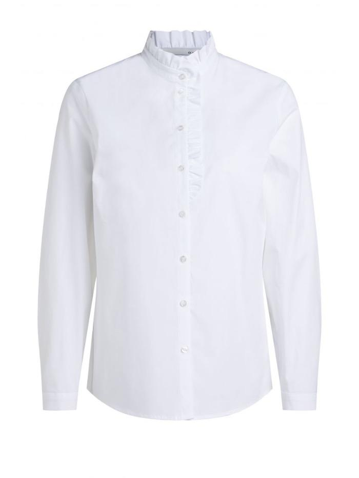 Oui Tops Oui White Frill Necked Shirt 70939 izzi-of-baslow