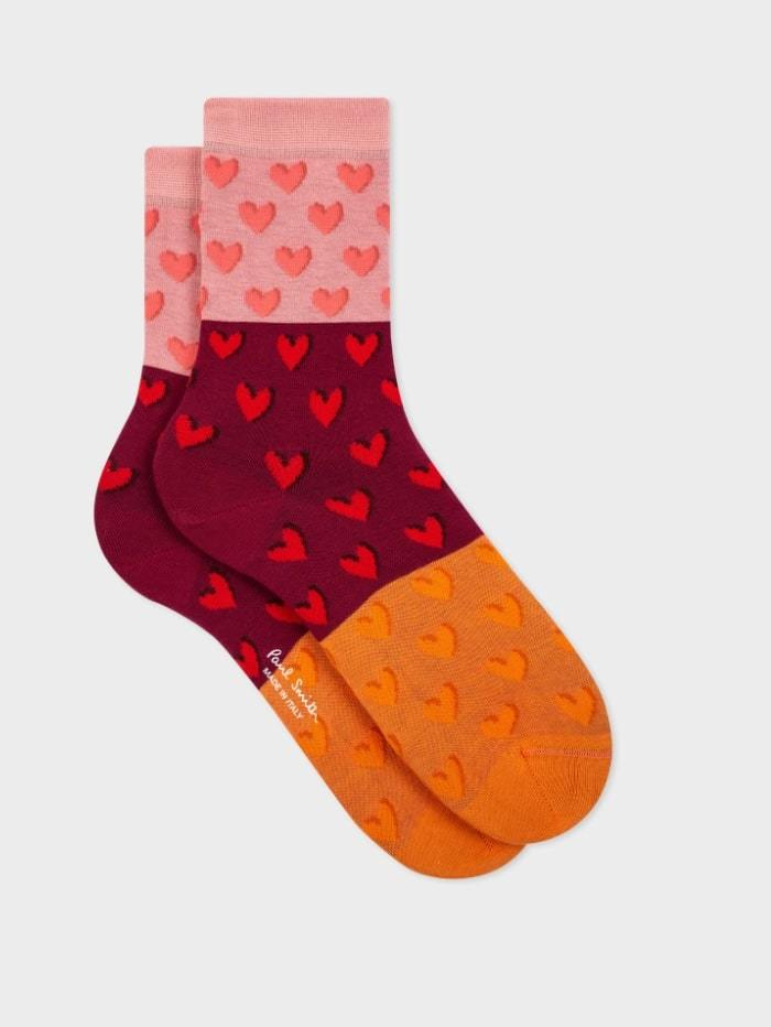 Paul Smith Accessories One Size Paul Smith Priyanka Heart Socks in Pink Burgundy And Orange W1A-086D-EF347-20-0 izzi-of-baslow
