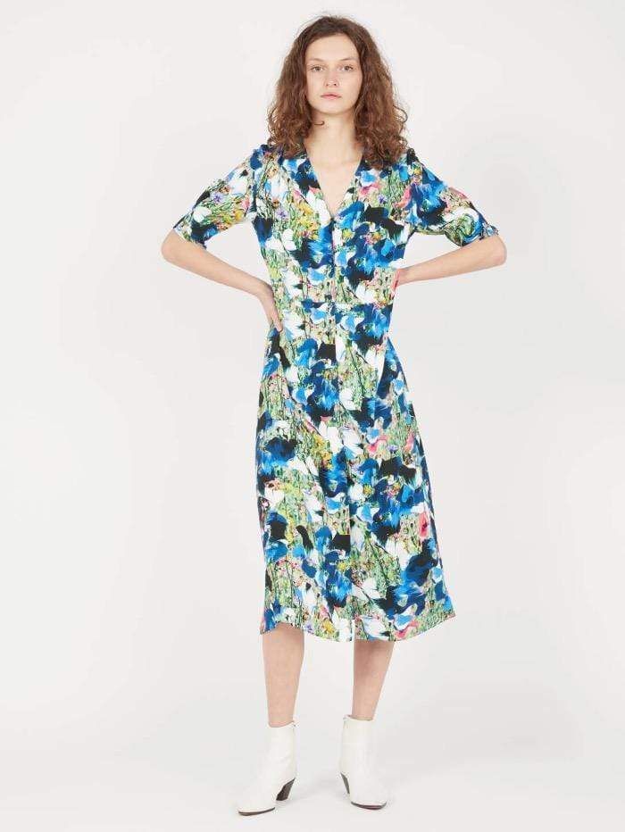 Paul Smith Dresses Paul Smith V Neck Dress Blue Floral W2R-450D-F30751-47 izzi-of-baslow