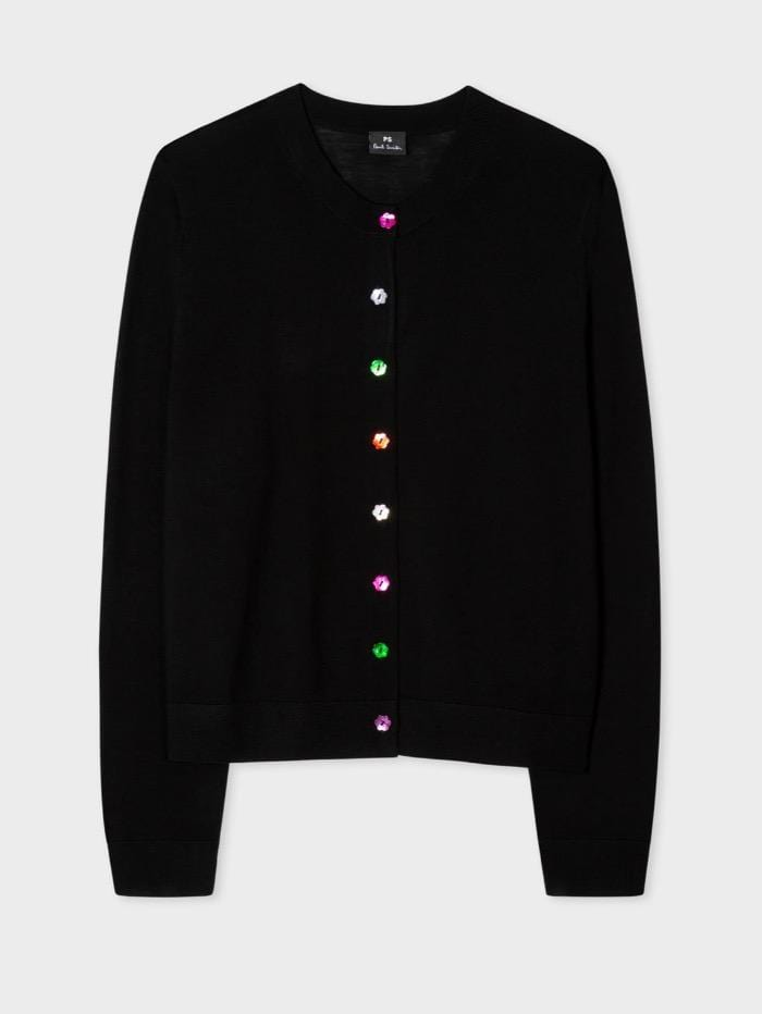 Paul Smith Knitwear Paul Smith Black Wool Cardigan With Multi Coloured Buttons W2R-778K-E30610-79 izzi-of-baslow