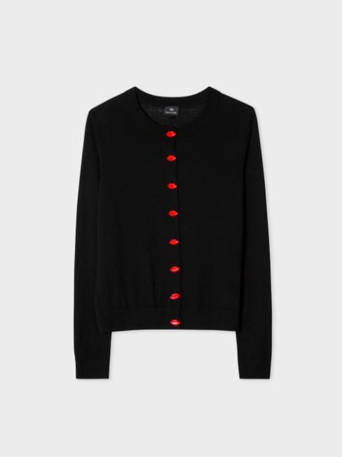Paul Smith Knitwear Paul Smith Wool-Blend Cardigan With Lips Buttons Black izzi-of-baslow