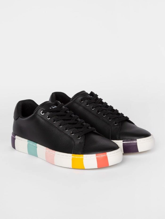 Paul Smith Shoes 37 / black Paul Smith Black Leather 'Lapin' Trainers With Striped Soles W1S-LAP47-ECAS-79 izzi-of-baslow