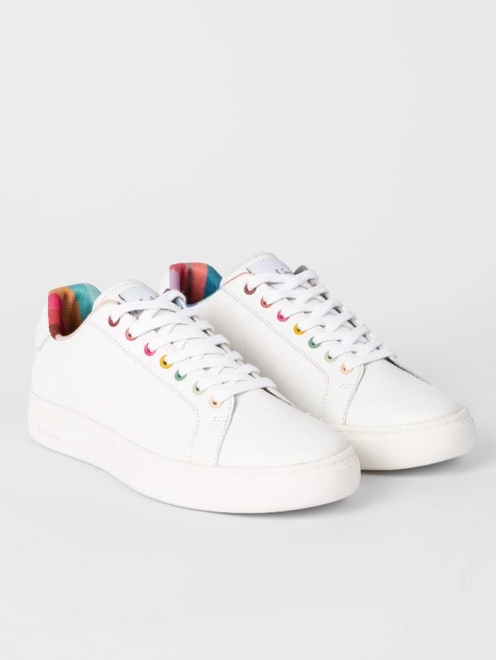Paul Smith Shoes 37 / white Paul Smith White Leather Lapin Trainers With Swirl Trims W1S-LAP42-ECAS-01 izzi-of-baslow