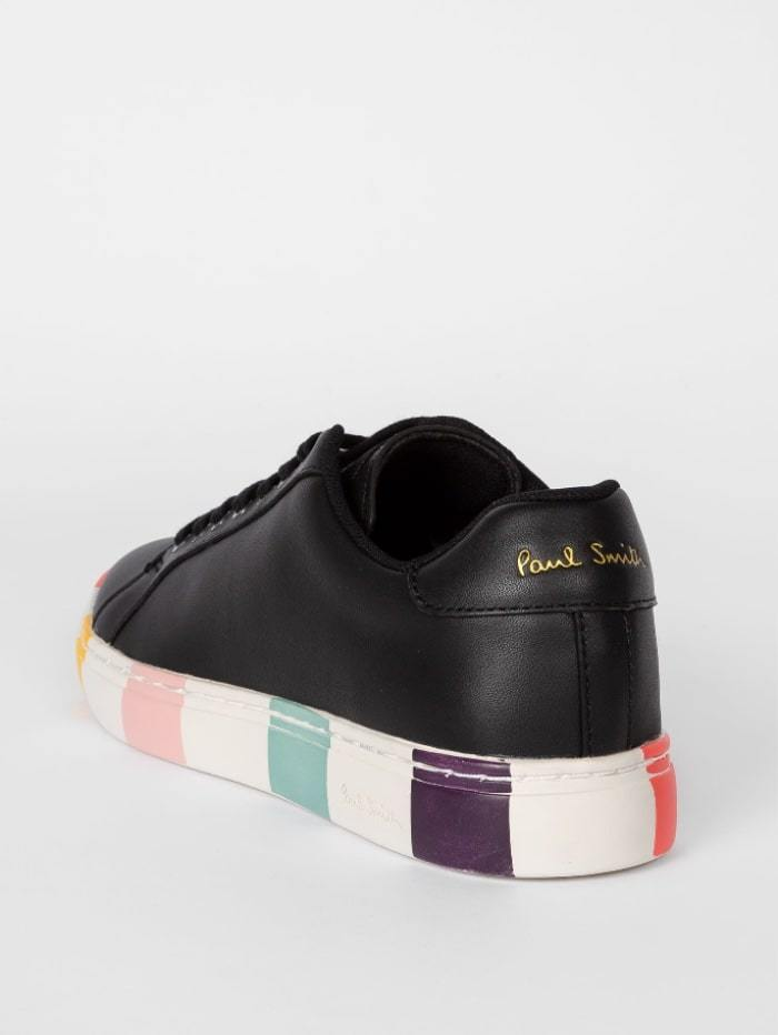 Paul Smith Shoes Paul Smith Black Leather 'Lapin' Trainers With Striped Soles W1S-LAP47-ECAS-79 izzi-of-baslow