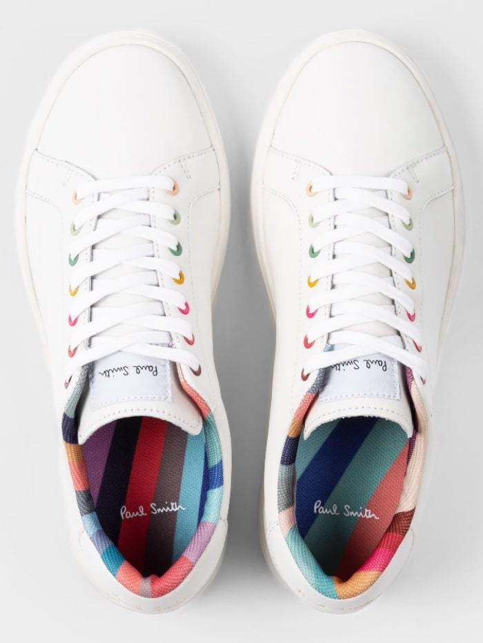 Paul Smith Shoes Paul Smith White Leather Lapin Trainers With Swirl Trims W1S-LAP42-ECAS-01 izzi-of-baslow