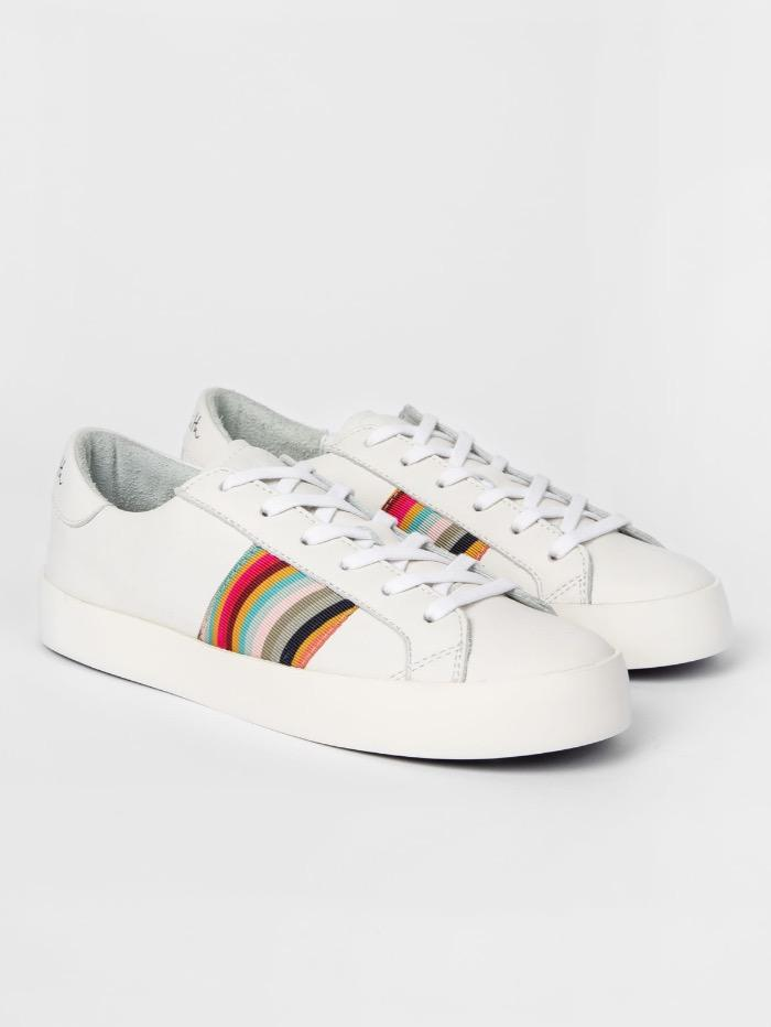 Paul Smith Shoes Paul Smith White Leather Pidgen Trainers With Swirl Trims W1S-PIDE08-FLEA-01 izzi-of-baslow