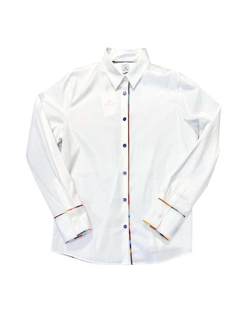 Paul Smith Tops 12 Paul Smith Cotton Shirt in White W2R-019BS-E30056 izzi-of-baslow