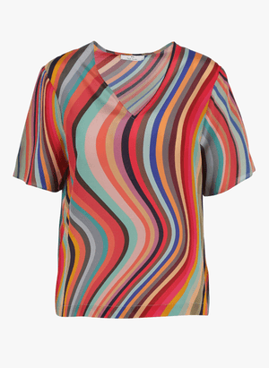 Paul Smith Tops Paul Smith V Necked Swirl Top W2R-213M-B30425 izzi-of-baslow
