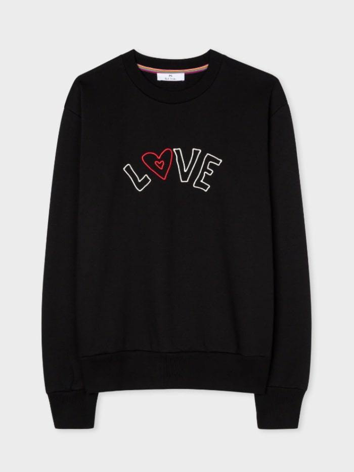 Paul Smith Tops S / black Paul Smith Black Embroidered 'Love' Slogan Sweatshirt W2R-142V-EP2246-79 izzi-of-baslow