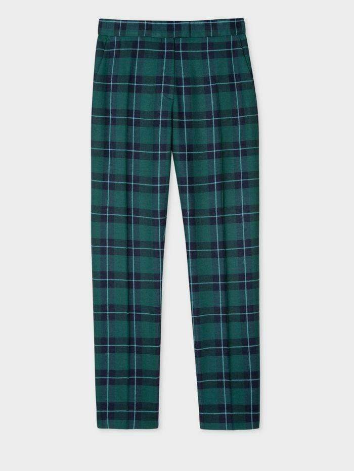 Paul Smith Trousers Paul Smith Green Tartan Wool Trousers W2R-083T-E30641 izzi-of-baslow