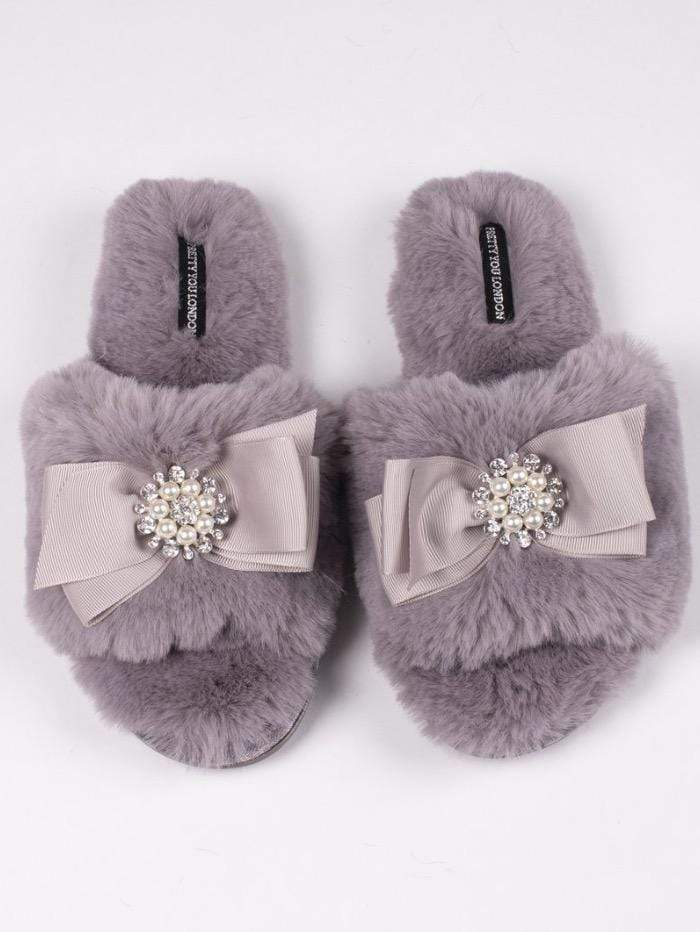 Pretty You London Loungewear Pretty You London Anya Mink Grey Slippers izzi-of-baslow