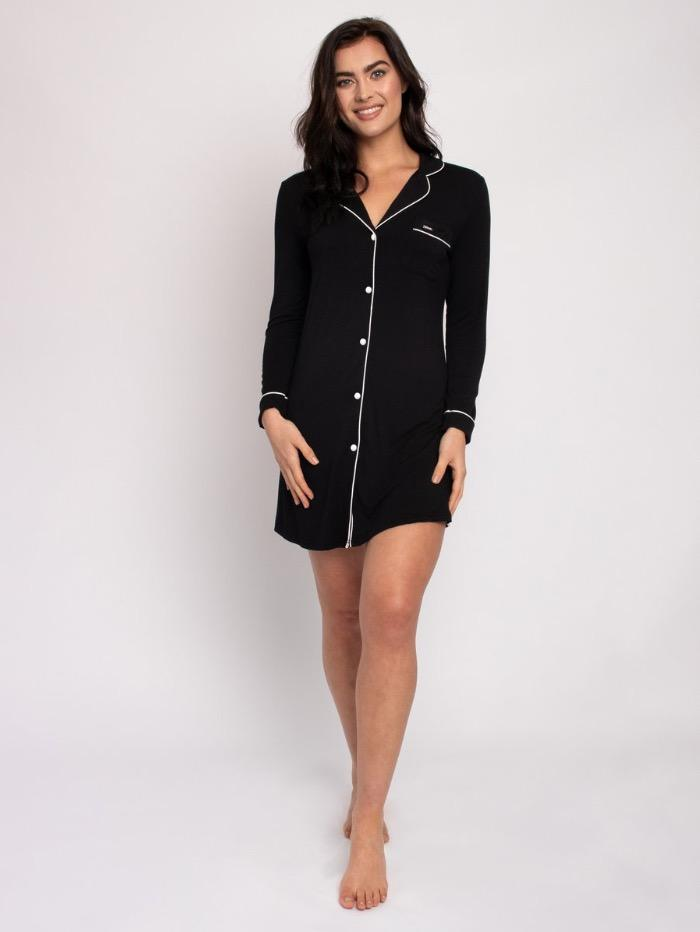 Pretty You London Loungewear Pretty You London Bamboo Collection Black Nightshirt izzi-of-baslow