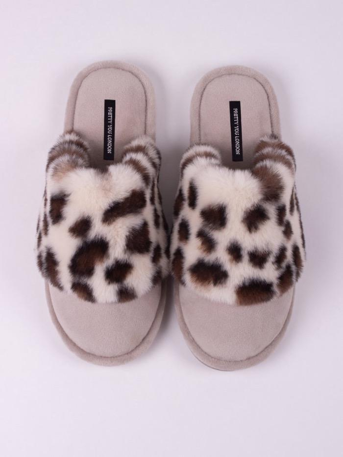 Pretty You London Loungewear Pretty You London Danni Animal Print Slippers izzi-of-baslow