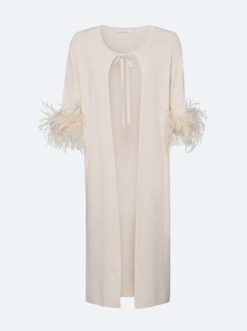 Riani Knitwear Riani Long Cardigan Feather Trim Ivory 407520-7845 izzi-of-baslow