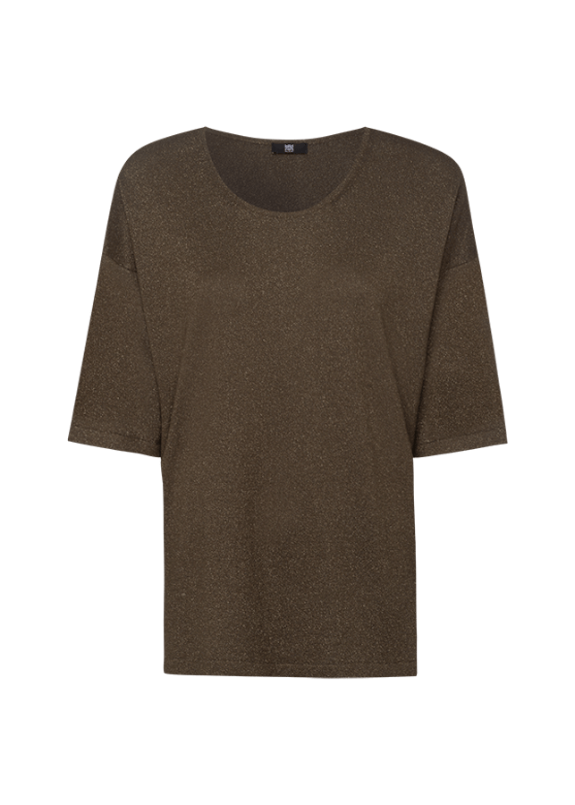 Riani Knitwear Riani Short Sleeved Sparkly Knit in Khaki 807960-8105 izzi-of-baslow