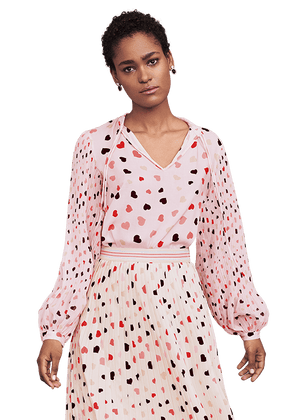 Riani Tops Riani Pleated Sleeve Blouse With Hearts Powder Patterned 305240-3630 izzi-of-baslow