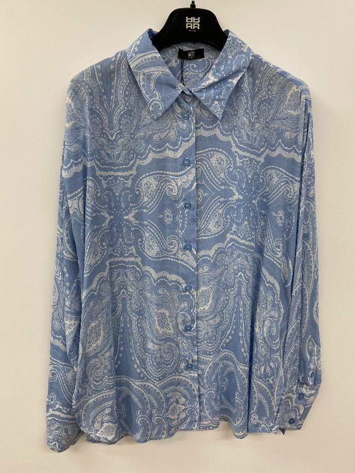 Riani Tops Riani Shirt Sky Blue and Cream Paisley  705330-3751 460 izzi-of-baslow