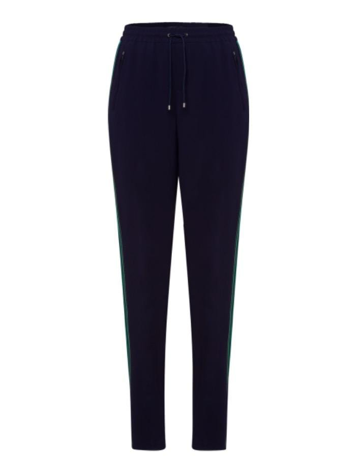Riani Trousers Riani Navy Drawstring Trouser With Green Side Stripes 933380 3290 IZ izzi-of-baslow