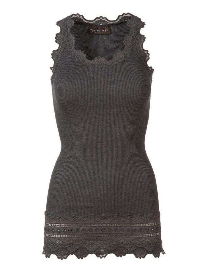 Rosemunde Tops M Rosemunde Long Silk Dark Grey Lace Top 5315 izzi-of-baslow