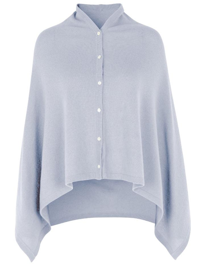 Rosemunde Tops O/S Rosemunde Wool and Cashmere Heather Sky Pale Blue Poncho 1452-205 izzi-of-baslow