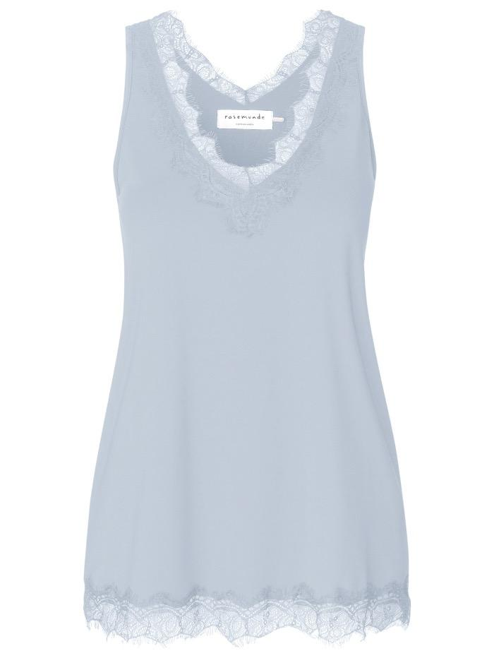 Rosemunde Tops Rosemunde Lace Trimmed Top in Heather Sky Pale Blue 4220-205 izzi-of-baslow