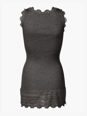 Rosemunde Tops Rosemunde Long Silk Dark Grey Lace Top 5315 izzi-of-baslow