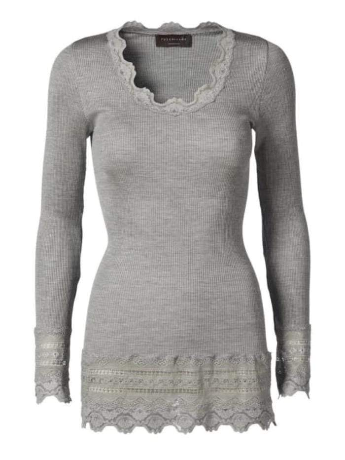 Rosemunde Tops Rosemunde Long Sleeved Light Grey Lace Top 5209 izzi-of-baslow
