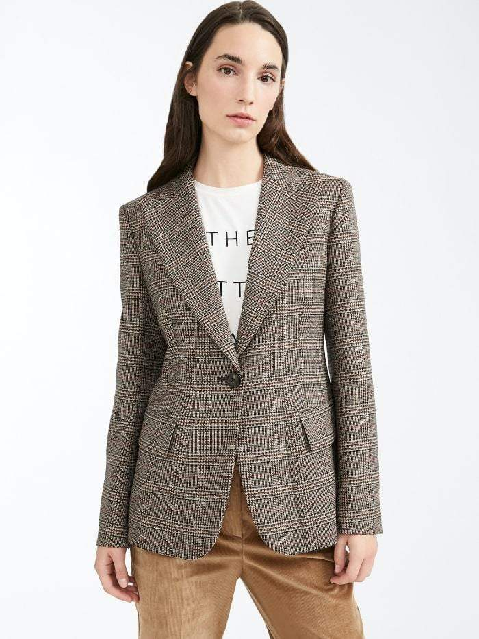 Weekend By Max Mara Coats and Jackets 12 Weekend by Max Mara Eolo Prince of Wales Blazer in Virgin Wool Twill 50460103 izzi-of-baslow