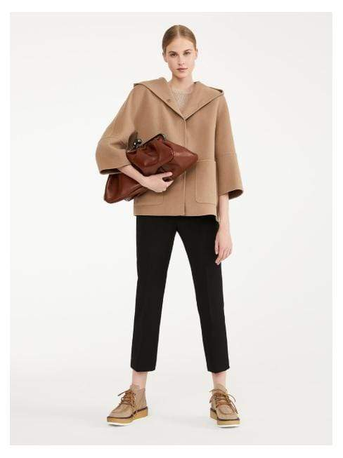 Weekend By Max Mara Coats and Jackets Weekend By Max Mara Camel Hooded Short Wool Coat Falco 50860199 izzi-of-baslow