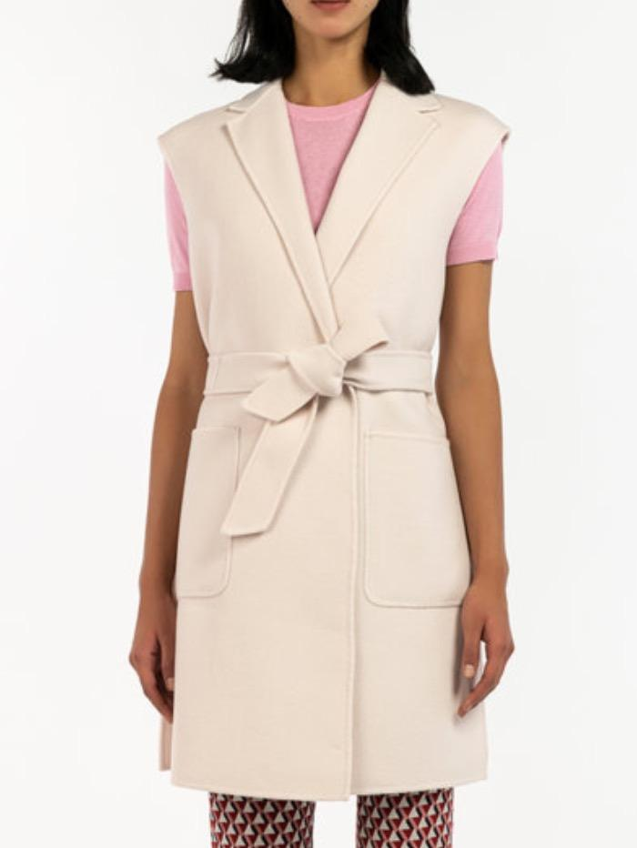 Weekend By Max Mara Coats and Jackets Weekend By Max Mara Cream Wool Gillet Flash 52760199 izzi-of-baslow