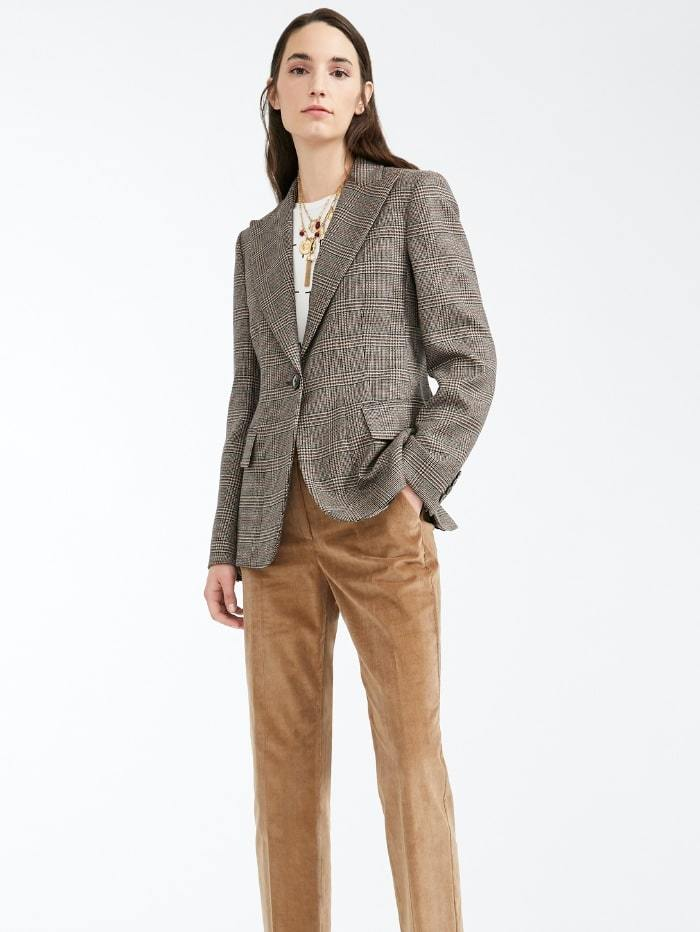 Weekend By Max Mara Coats and Jackets Weekend by Max Mara Eolo Prince of Wales Blazer in Virgin Wool Twill 50460103 izzi-of-baslow