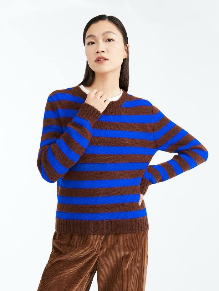 Weekend By Max Mara Knitwear M / Cornflower Weekend by Max Mara Sagra Striped Mohair Blend Jumper 536629030 izzi-of-baslow