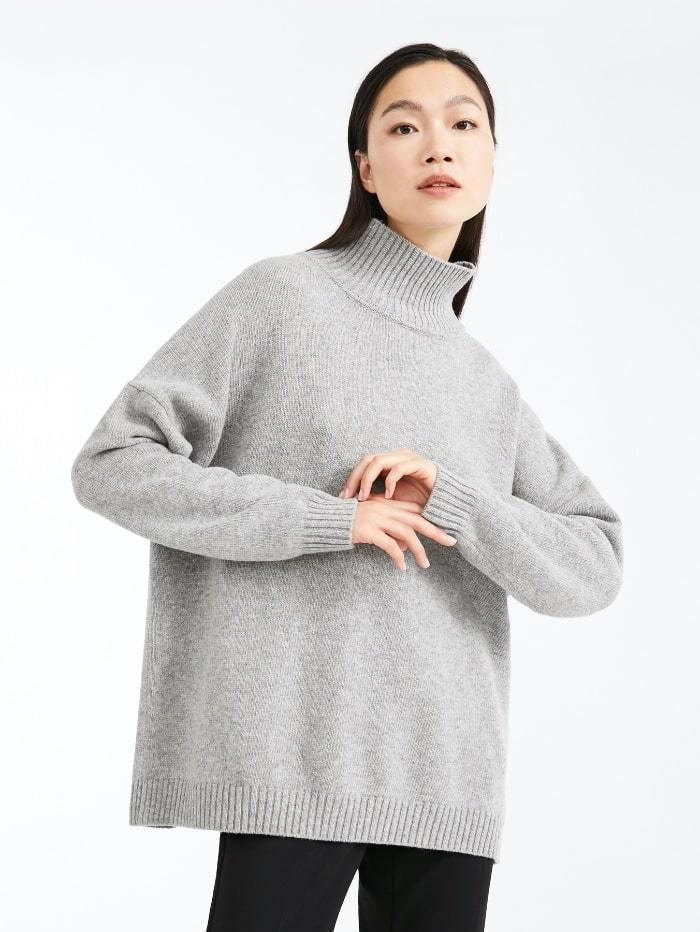 Weekend By Max Mara Knitwear S / medium grey Weekend by Max Mara Tondo Jumper in Grey Virgin Wool 53660603 izzi-of-baslow