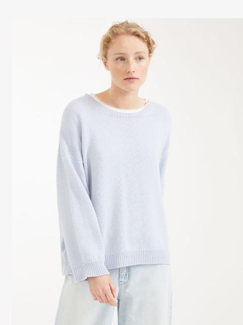 Weekend By Max Mara Knitwear Weekend By Max Mara Cashmere Mix Jumper Light Blue Zoraide 53611407 izzi-of-baslow
