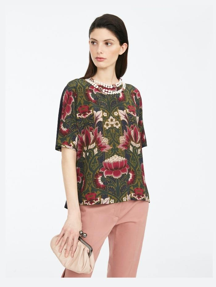 Weekend By Max Mara Tops M / ultramarine Weekend by Max Mara Soledad Floral-print Silk and Jersey Top 59461109 izzi-of-baslow