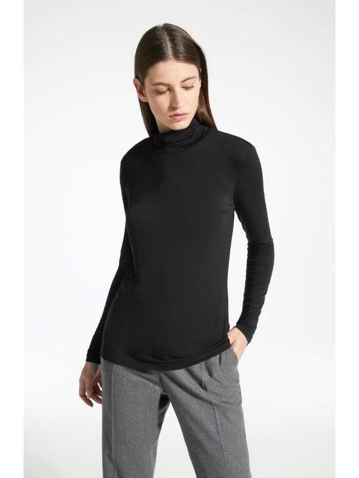 Weekend By Max Mara Tops Weekend By Max Mara Black Multif Polo Neck T Top 59460183600 izzi-of-baslow