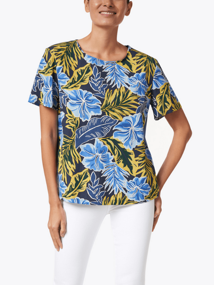 Weekend By Max Mara Tops Weekend Max Mara CACO Palm Print Cotton T-Shirt 59410711600 izzi-of-baslow