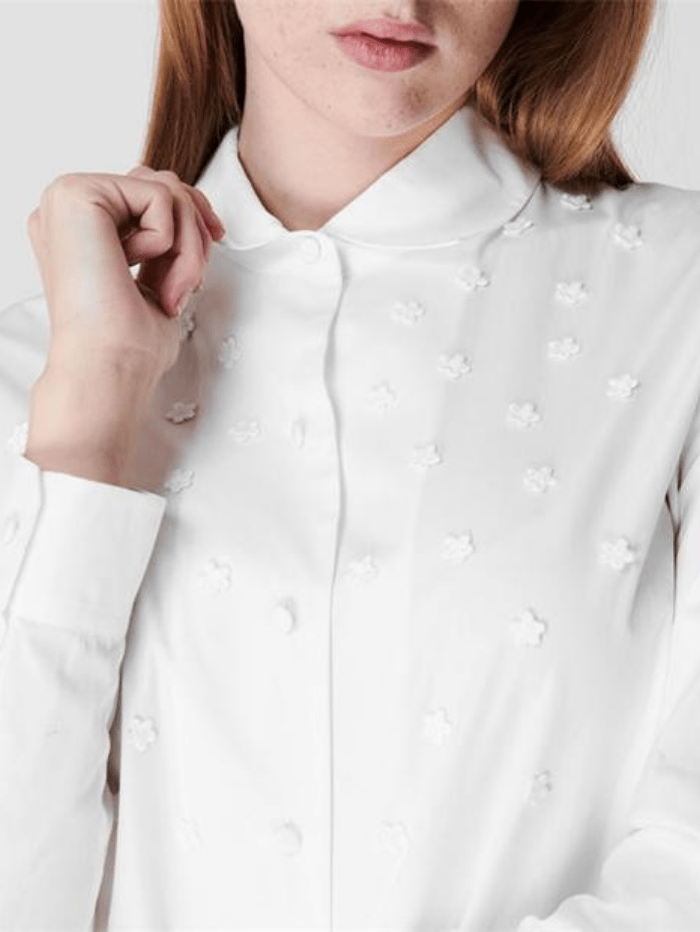 Weekend By Max Mara Tops Weekend Max Mara CELEBRE Embroidered Floral Print White Shirt 51110917 001 izzi-of-baslow