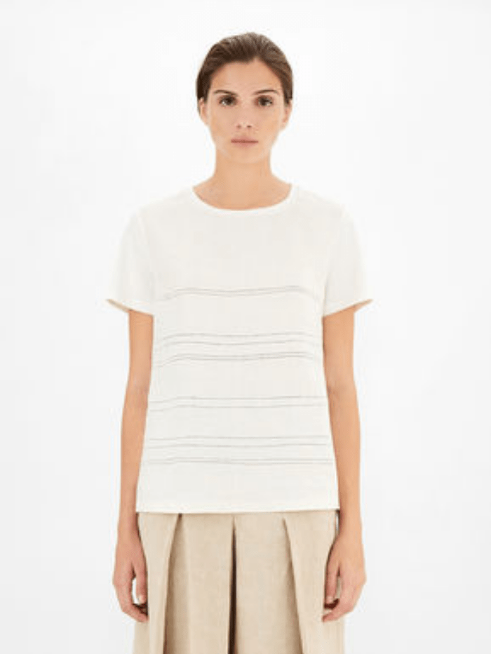 Weekend By Max Mara Tops Weekend Max Mara GESSY Linen Embroidered T-Shirt 59411911600 izzi-of-baslow