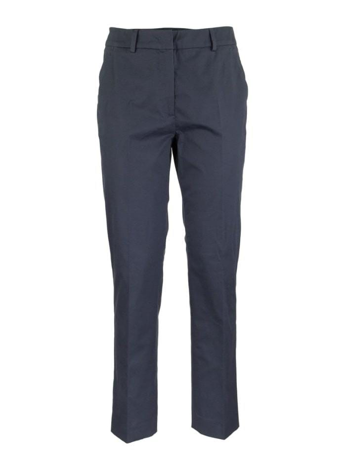 Weekend By Max Mara Trousers 10 / navy Weekend by Max Mara Lato Cotton Satin Cropped Blue Trousers 51360309 izzi-of-baslow