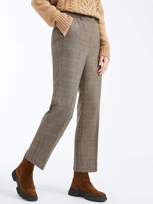 Weekend By Max Mara Trousers 12 / caramel Weekend by Max Mara Aggetto Prince of Wales Wool Cropped Trousers 51360403 izzi-of-baslow