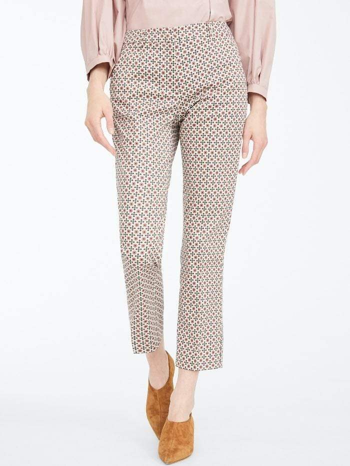 Weekend By Max Mara Trousers 8 / multi Weekend by Max Mara Astrale Graphic Print Cotton Trousers 51360609 izzi-of-baslow