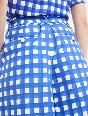 Weekend By Max Mara Trousers Weekend By Max Mara Dry Shorts in Cobalt Blue and White Check 51410301 izzi-of-baslow