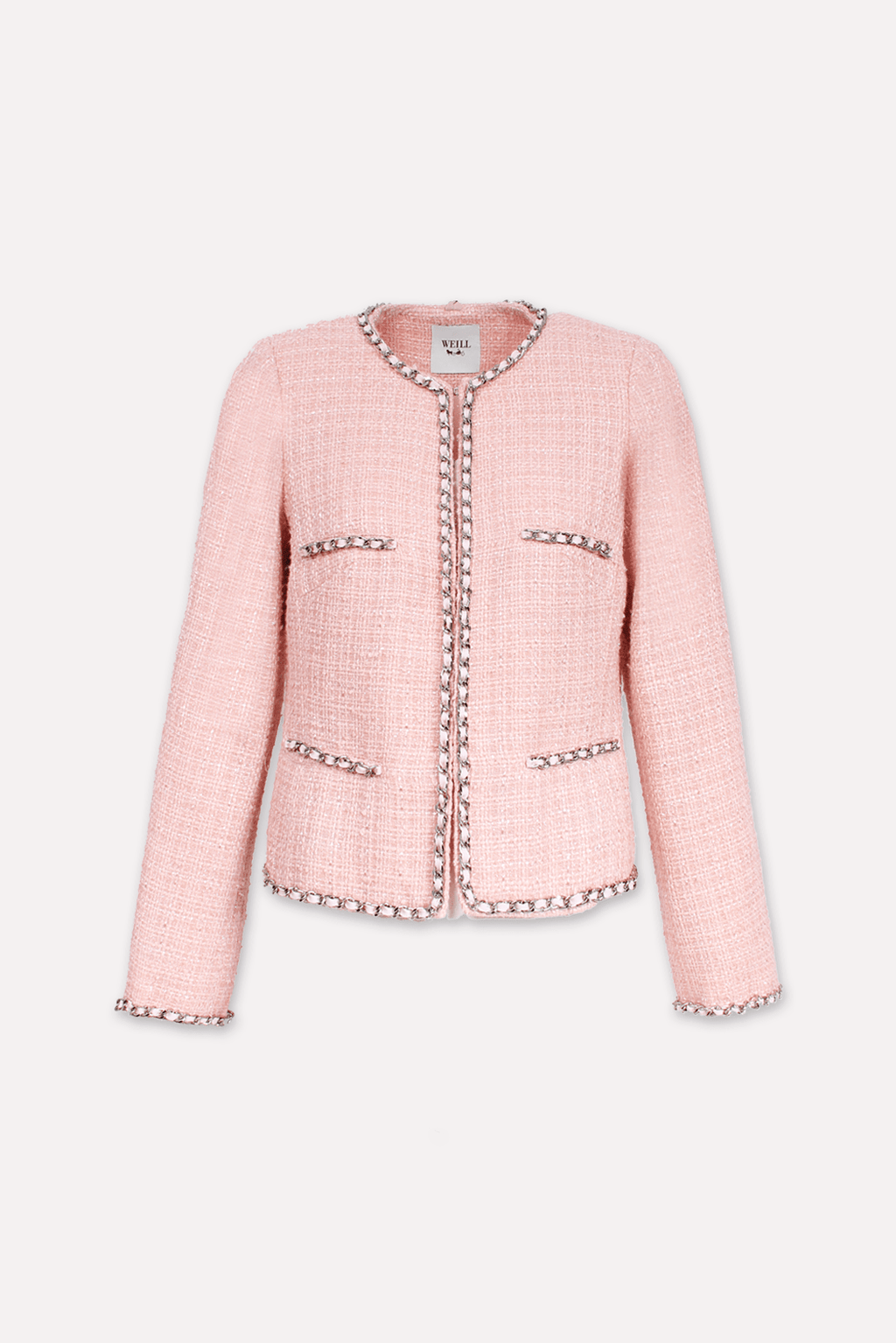 Weill Coats and Jackets Weill Mariata Jacket  in Soft Pink Tweed and Chain Edge 131028 izzi-of-baslow