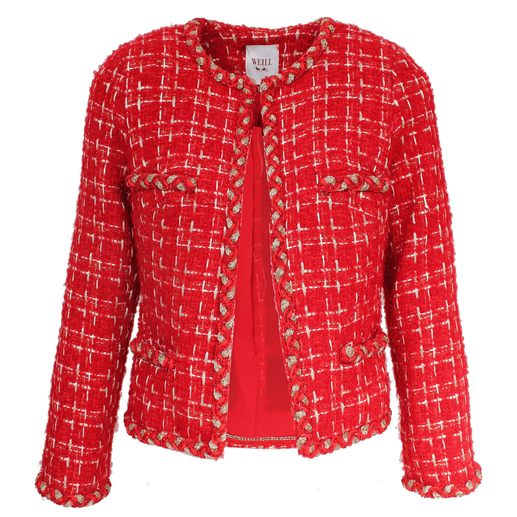 Weill Coats and Jackets Weill Marline Red Boucle Jacket 131001 izzi-of-baslow